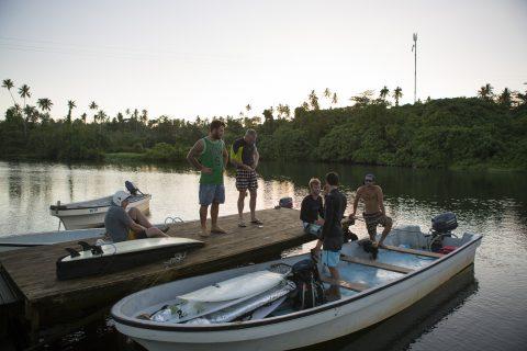 The morning hustle to surf Salani Rights, Samoa. Photo: Derek Morrison