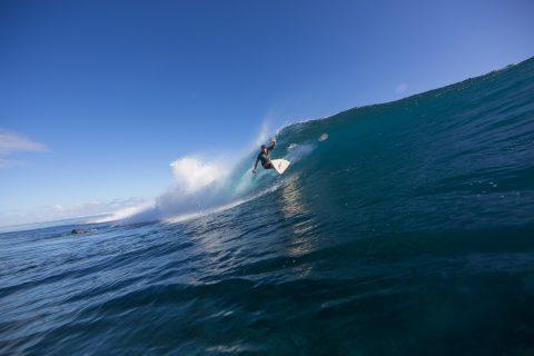 Jamming it at a secret reef, Samoa. Photo: Derek Morrison