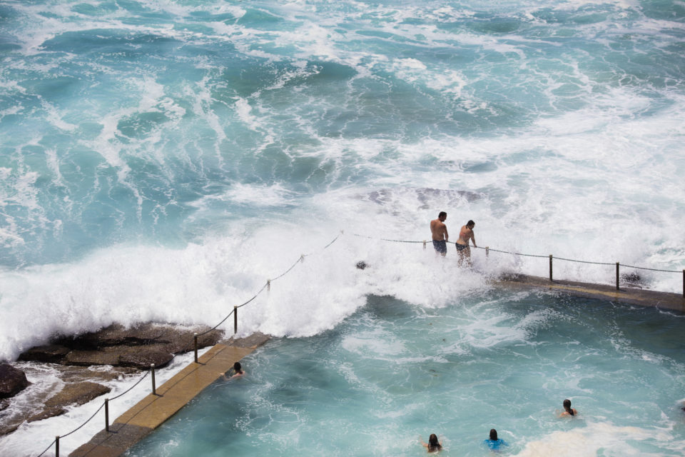 Swimmers at the Avalon pool make the most of a new swell on the Northern beaches of Sydney, NSW, Australia.