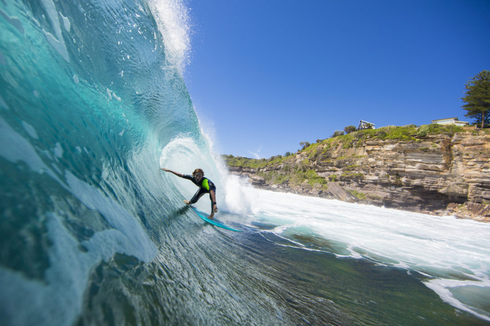 Archie Elliott lines up a barrell in fun conditions at LA on the Northern beaches of Sydney, NSW, Australia.