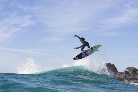 Kaya Horne takes flight at Froggies near Coolangatta on the Gold Coast, Queensland, Australia.