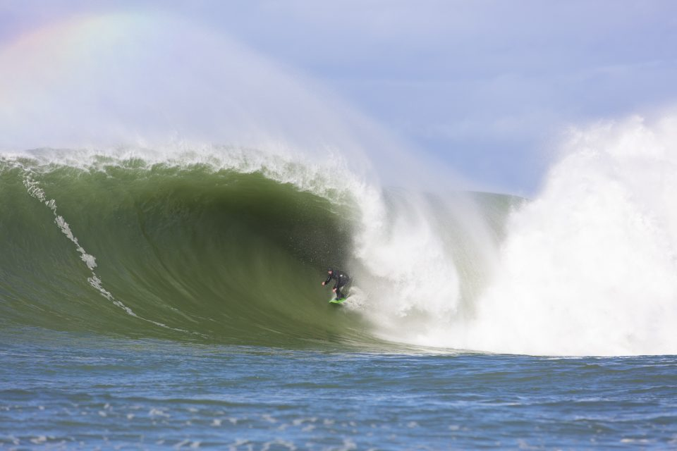Delta opens his account at a remote reefbreak in the South Island, New Zealand. Photo: Derek Morrison