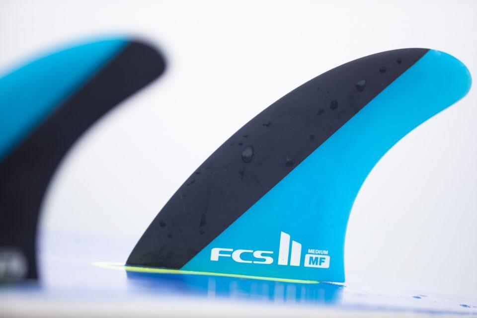 FCS II MF PC Thruster Tri Fin Set on test. Photo: Derek Morrison