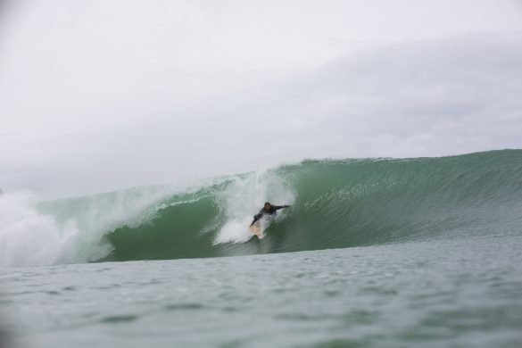 Bede Carmin grabs rail at a remote beach in the Catlins, New Zealand. Photo: Derek Morrison
