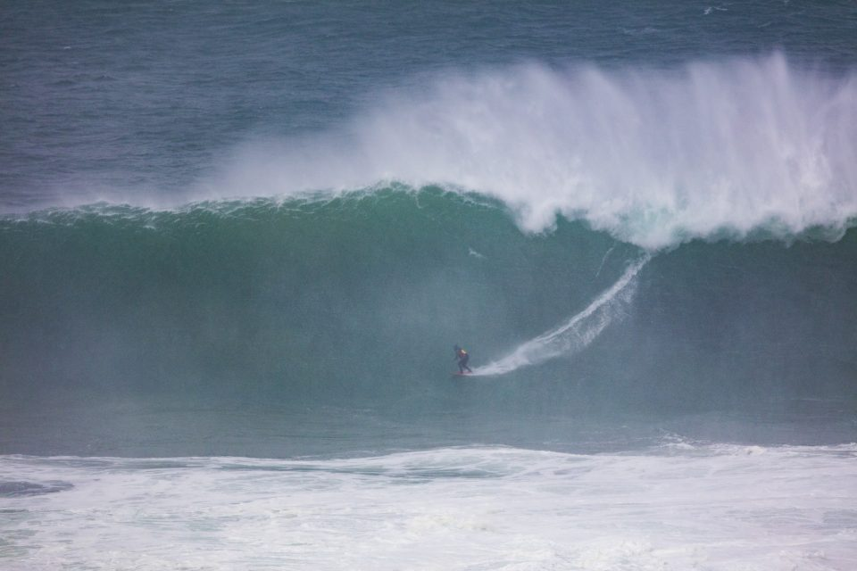 Big wave surfers take on a storm swell in the Catlins, Otago, New Zealand.