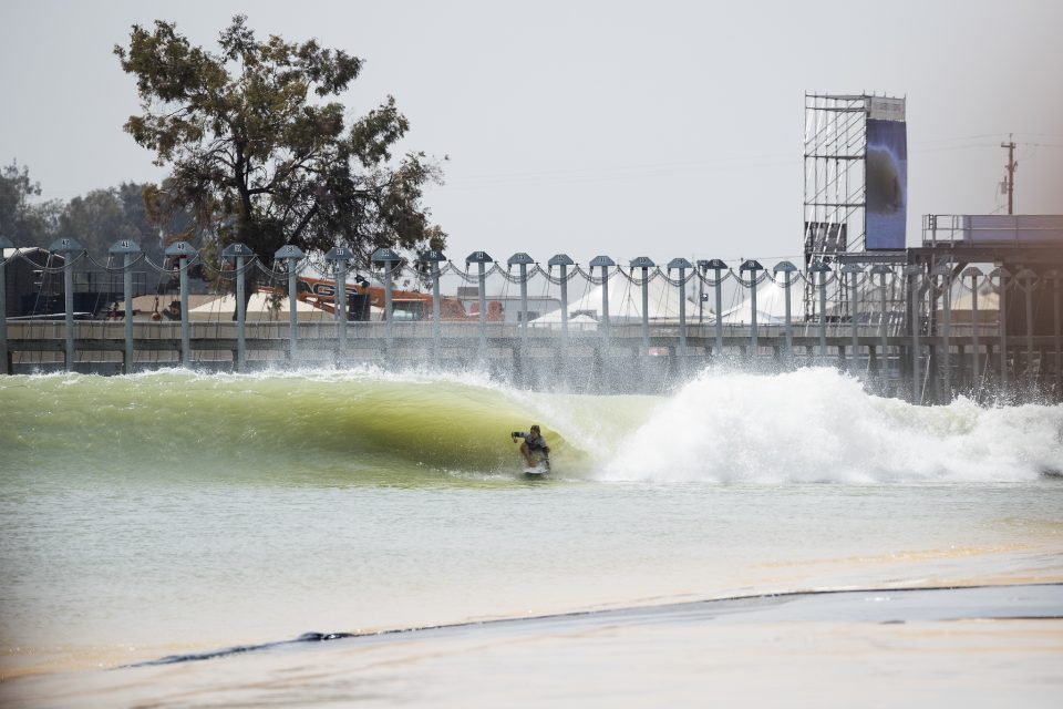 Paige Hareb (NZ) surfing as a member of Team World during Qualifying Run 3 of the 2018 Founders Cup at the WSL Surf Ranch in Lemoore, CA, USA.