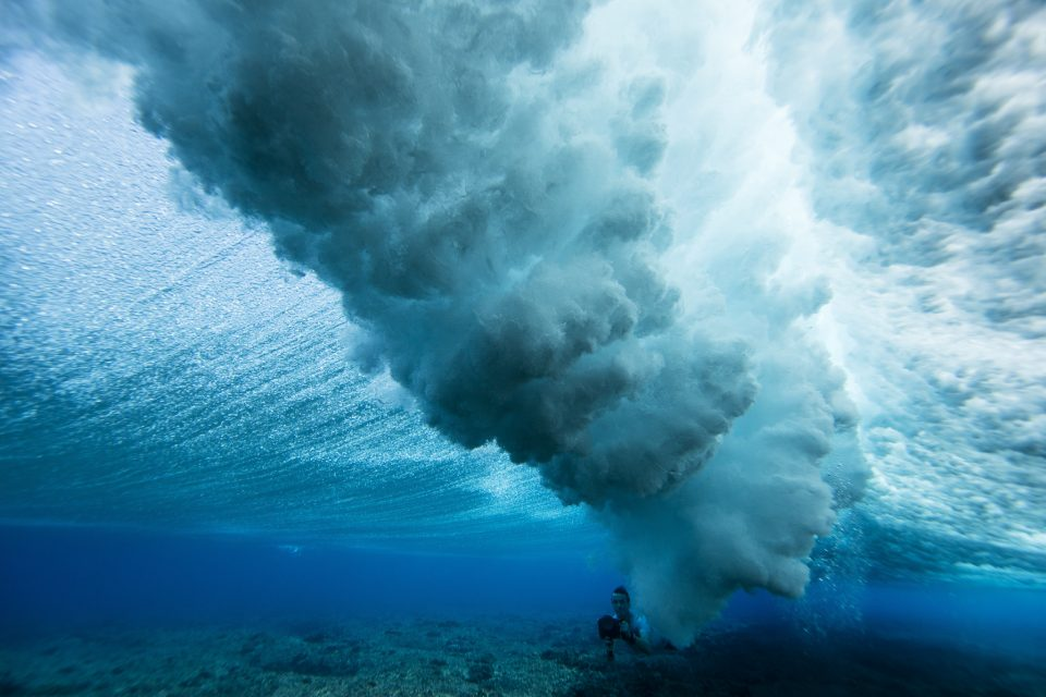 Filmmaker Jono Smit getting some underwater time in at the Mamanuca Islands, Fiji. Photo: Derek Morrison
