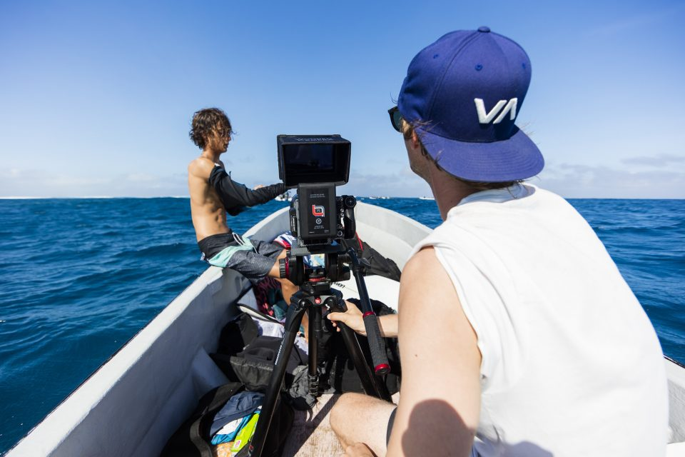 Jono Smit films Kaya Horne in fun waves at Cloudbreak during the 2017 Fiji Launch Pad event held In the Mamanuca Islands, Fiji.