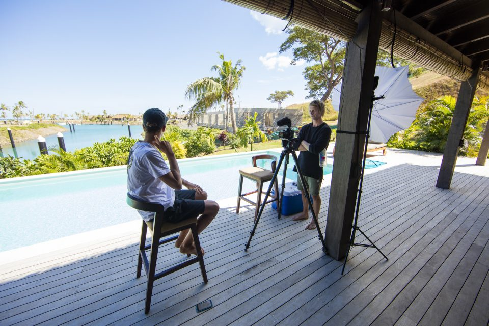 Jono Smit films the surf athletes during the inaugural Fiji Launch Pad event held In the Mamanuca Islands, Fiji. Photo: Derek Morrison
