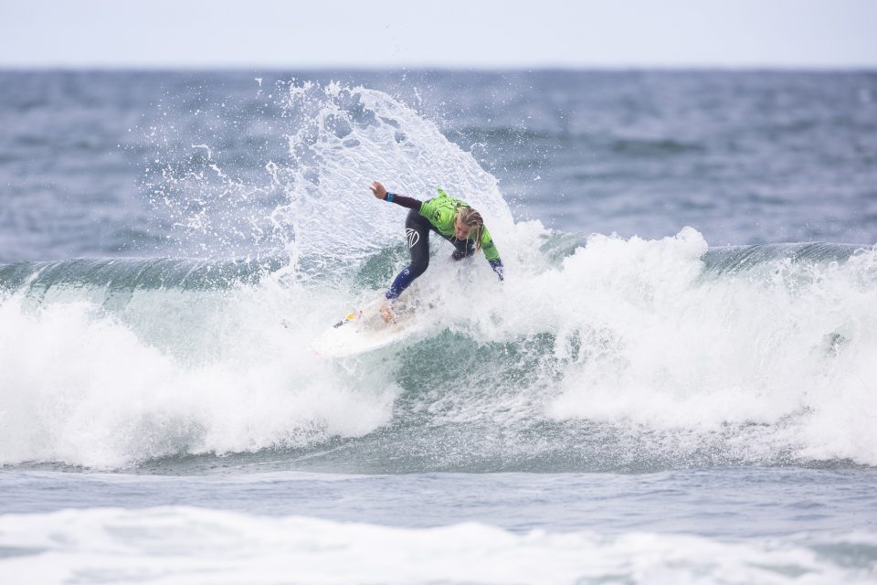 Estella Hungerford on her way to a win in the Open Women's at the 2019 Emerson's Brewery South Island Surfing Championships held at St Clair, Dunedin, New Zealand. Photo: Derek Morrison