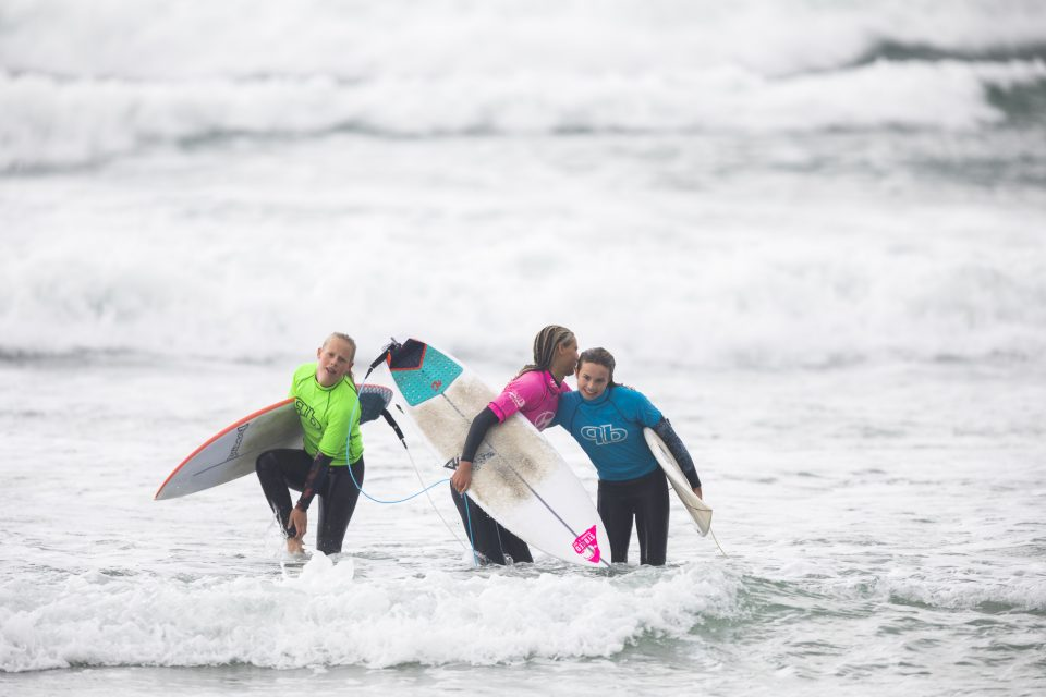 The U16 girl's congratulate each other after the final at the 2019 Emerson's Brewery South Island Surfing Championships held at St Clair, Dunedin, New Zealand. Photo: Derek Morrison