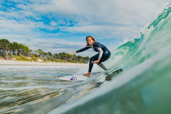 Pauline Ado, of France, all smiles on a wave at Mount Maunganui. Photo: RiBLANC