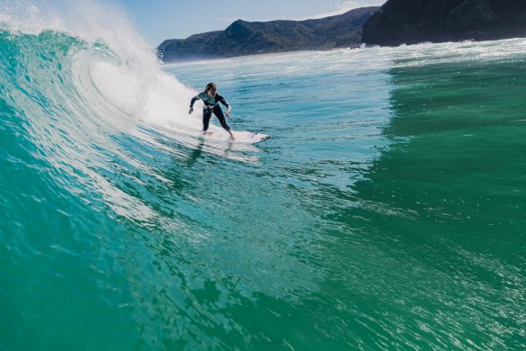 Pauline Ado, of France, getting some time in at Piha. Photo: RiBLANC