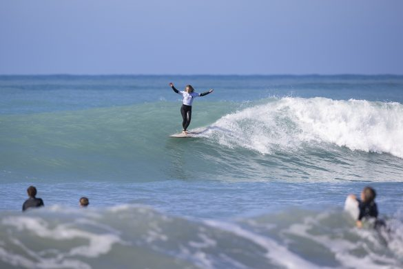 Jay Ryan-Emere, of Gisborne, showing her style in the longboards. Photo: Derek Morrison
