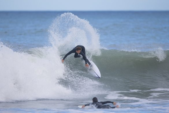 Reuben Lyons showing how to surf his local. Photo: Derek Morrison