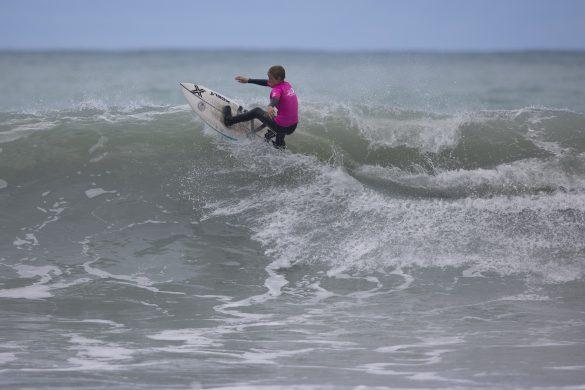 Christchurch surferf Jack Tyro going for broke. Photo: Derek Morrison