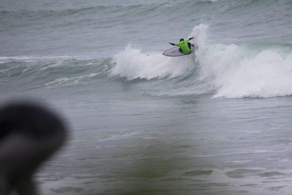 Mathias Thompson takes flight. Photo: Derek Morrison