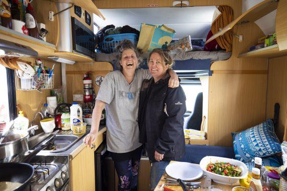 Roxy and Deb in Roxy's galley. Photo: Derek Morrison
