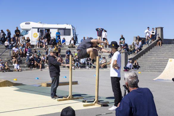 High jump skate antics. Photo: Derek Morrison